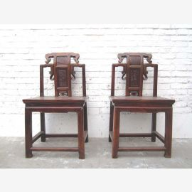 Zhejiang Asie vers 1890 chaise sculpture antique bois brun orme