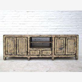 Chine Shabby Chic plat Buffet Buffet pour TV écran plat quatre portes, deux tiroirs Parc antique pin blanc de luxe