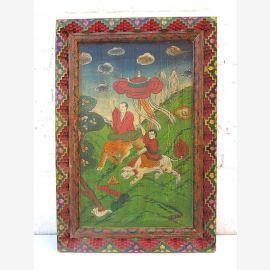 """Chine ancienne fresque colorée peinte sur antique scène classique en bois peint du """"Luxury-Park"""""""