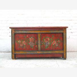 Asie 1925 Lowboard Chest Banque peint marron rustique