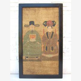 """Chine ancienne beau couple de mariage de motif de peinture murale classique sur bois peint du """"Luxury-Park"""""""