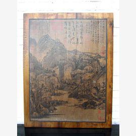 Asie murale paysage classique de 80 ans cadre de pin clair