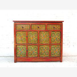 Chine grand buffet vaisselier peint de couleurs vives Tibet 1925 antique