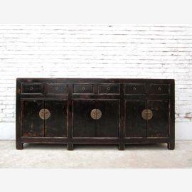 """Chine 1890 style colonial longue console ultra bahut Buffet laqué noir avec des agrafes métalliques du """"Luxury-park"""""""