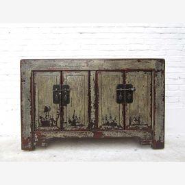 """Chine commode tiroirs gris vert pin peintes avec un look antique patine vintage """"Luxury-park"""""""