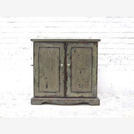 """Chine petite commode meuble-lavabo en bois de pin laqué gris tache regard shabby chic du """"Luxury-Park"""""""