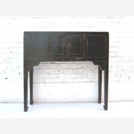 "Chine 1930 bois bureau commode de pin table étroite peint en noir optique minable chic ""Luxury-Park"""