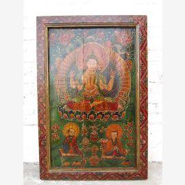 Tibet Asie murale divinité cadre traditionnellement peints en bois massif