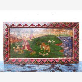 Asie Tibet grande fresque paysage peint de couleurs vives cadre en bois