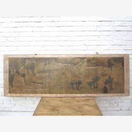 Chine large brun clair murale encadrée bois de pin de 80 ans