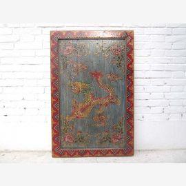 Asie Tibet murale Drachenmotiv Vintage cadre en bois brun