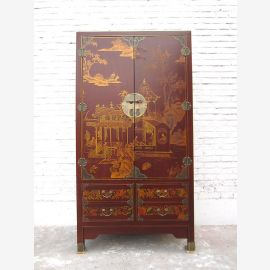 Asie armoire maigre or rouge Antique style simili cuir pin