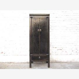 Asie tiroirs d'armoire plus étroite highboard noir antique