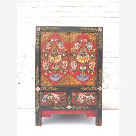 """Chine Tibet autour de 1920 petit coffre commode peinte de couleurs vives de tiroirs avec pin noir corpus du """"Luxury-Park""""."""