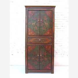 """Chine avant 1920 noble semi-meuble haut de l'armoire deux portes doubles dans le brun-rouge classique peint pin du """"Luxury-Park"""""""