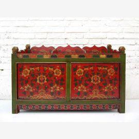 """Chine Tibet 1940 de grands pots de fleurs en bois de pin noir peinture verte et rouge-brun du """"Luxury-Park"""""""