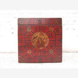 Asie Cube poitrine brun rougeâtre fini antique du Tibet bois