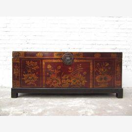 """Chine 1930 fin antique coffre de mariage peint en rouge pin avec une peinture florale amende de """"Luxury-Park"""""""