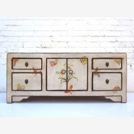 """Chine commode blanc et fin Lowboard à motifs floraux peints pin tiroirs en bois et doubles portes du """"Luxury-Park"""""""