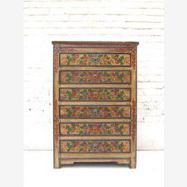 """Chine Tibet tiroir mince commode 6 grands tiroirs armoire pin rustique peint avant de """"Luxury-Park"""""""