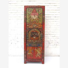 """Chine Tibet Tibet avant 1930 à mi-hauteur commode armoire en rouge-brun bois de pin peint classique du """"Luxury-Park"""""""