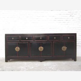 Chine grand buffet commode antique de pin en laiton noir
