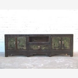 Chine Lowboard TV commode noire de pin Shabby chic