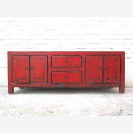 Asie TV Lowboard Poitrine de style vintage rouge brun par Park de luxe