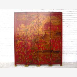 China Parvent rot Lederoptik 4 Panels 183x3x198cm