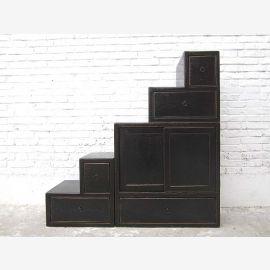 """Chine étapes tiroirs escalier commode noire shabby chic utilisé sur les deux côtés du """"Luxury-Park"""""""
