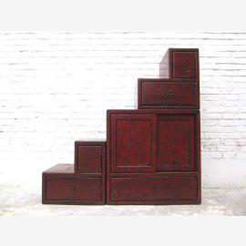 """Chine grand escalier Chest Finish Noir shabby chic et tiroirs des deux côtés ouvrable nombreux du """"Luxury-Park"""""""