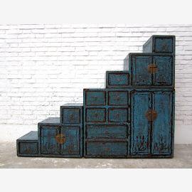 Chine grands tiroirs escaliers Shabby chic peinte en bleu