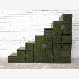 Asie grandes scènes commode tiroirs antique peinture verte