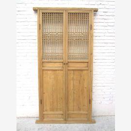 Porte la haute Asie avec maille 221x104cm Décor antique 150 ans bois naturel