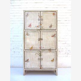 """Chine mince armoire blanche haute planche peinte en bois de pin de motifs floraux doubles portes du """"Luxury-Park"""""""