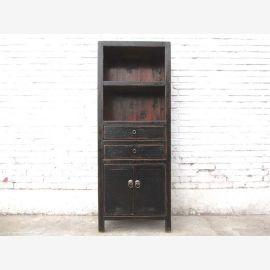 Chine petit placard étagère-commode antique en bois noir