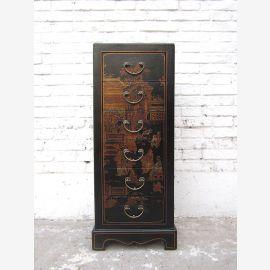 Chine petite commode brun foncé look antique finition en cuir pins