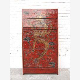 Chine Tibet tiroirs Meuble à chaussures pin antique peint en rouge