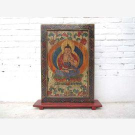 Tibet statue colorée divinité bouddhiste grande cadre décoratif