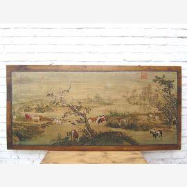 Asie large paysage murale cadre blanc antique environ 80 ans pin