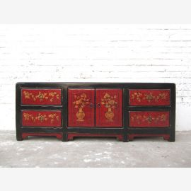 Asie Lowboard TV commode noire rouge du pin fini antique