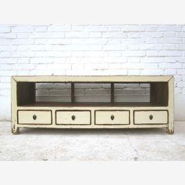 Chine petite commode TV Lowboard antique cru 125x45x41cm blanc