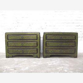 Chine petits tiroirs console Lowboard bois de pin antique de finition vert foncé