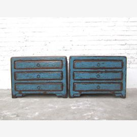 Chine petits tiroirs Poitrine Lowboard pins d'azur shabby chic