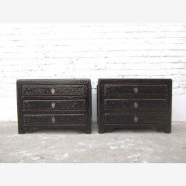 Petits tiroirs Asie Chest Lowboard laque antique de finition pin noir