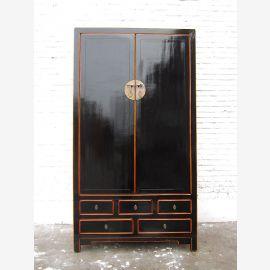 Armoire haute Asie classique laqué noir pin de style vintage