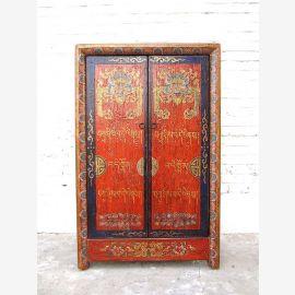 Porcelaine fine Cabinet de la commode en bois massif de style antique rouge