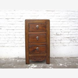Asie petit coffre de la table de chevet tiroirs naturel brun antique 100 ans de pin