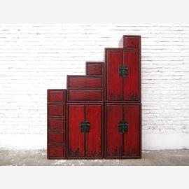 La Chine met en scène la poitrine rougeâtre fini antique brun pin de style colonial