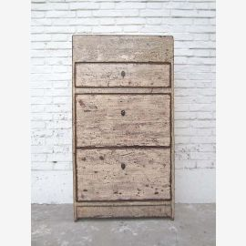 Chine Chest Meuble à chaussures Shabby chic, grunge pin blanc